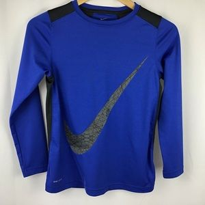 Nike Dri Fit boys blue and gray long sleeve top